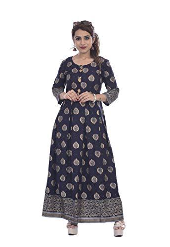 Shakambari Fashion Regular Printed Ethnic Wear for Women(SF-Blue Gold-P)