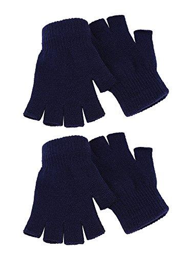SATINIOR 2 Pares de Guantes sin Dedo Unisex Guantes de Invierno de Mitad de Dedo Guantes de Punto Elásticos con Tamaño Estándar (Azul Marino)