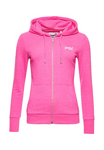 Superdry Damen OL Ziphood UB Kapuzenpullover, Rosa (Fluro Pink 28R), XS (Herstellergröße:8)