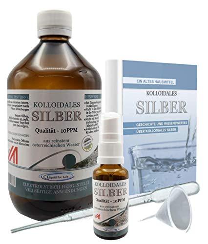 LIQUID FOR LIFE® Kolloidales Silber 10PPM - 1000ML Silberwasser - inklusive 30ml Sprühflasche und Zubehör, in STRAHLENSCHUTZVERPACKUNG und GRATIS E-BOOK