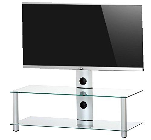 Mueble para TV de RO&CO - mueble con 2 estantes y soporte de TV - vidrio y aluminio -110 cm