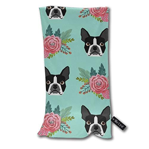 """Yunilya Boston Terrier Floral Mint Cute Dogs Best for Dog Owners Supersoft - Ultra Absorbent - Quick Dry - Machine Washable Oversize Towels 30""""x70"""" - for Beach, Bath, Yoga, Sports,Picnic, Travel etc."""