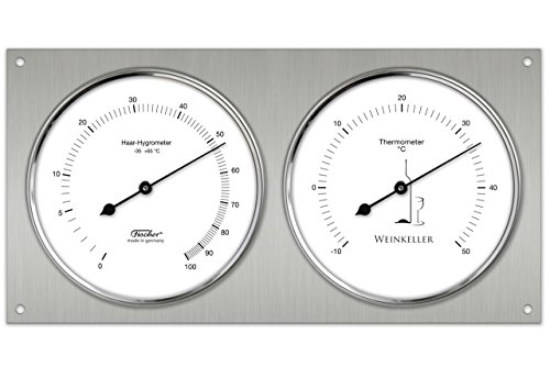 Weinkeller - Termometro igrometro bimetallico per misurare il clima in cantina, analogico, in acciaio INOX lucidato