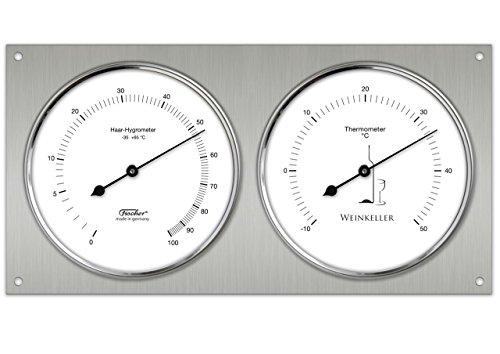 Weinkeller Echthaar-Hygrothermometer, Bimetall-Thermometer zu Klimamessung im Weinkeller, Analog, Edelstahl poliert