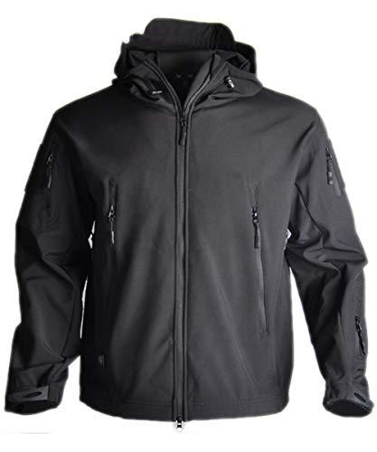 HARGLESMAN Men's Mountain Waterproof Ski Jacket Outdoor Sports Windproof Rain Jacket Hunting Hinking Camping Climbing Fishing Multifunctional Winter Fall Spring Coat Black L