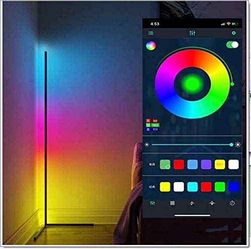 WFWPY Luz De Piso LED RGB Inteligente, Luz Que Cambia De Color Regulable Blanco Cálido Blanco Frío APLICACIÓN Bluetooth Control Iluminación WiFi Decoración 140CM [Clase Energética A]
