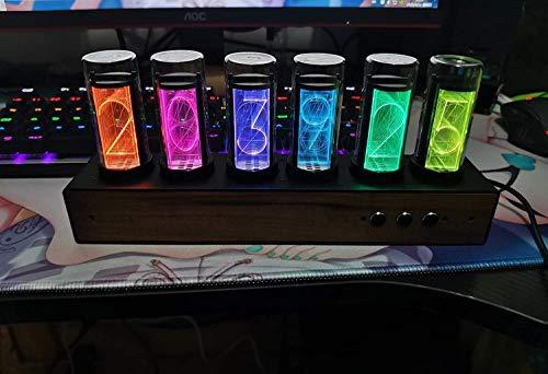 ZKK LED Nixie Uhr Mit Mit Schwarzem Walnuss-Panel, Farbverstellbare Lumix Röhrenuhr Nixie Röhrenuhr Mit Magnetischem Design, LED Nixie Uhr Röhrenuhr Geschenk Für Den Vater,Noir