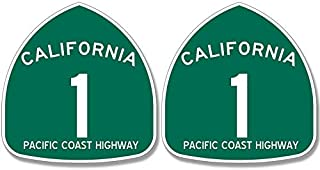 American Vinyl 2 Pack: PCH 1 Helmet Sized Stickers (Pacific Coast Highway Small California ca)