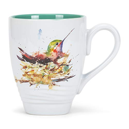 DEMDACO Dean Crouser Watercolor 16 Ounce Glossy Ceramic Stoneware Bird Mug with Easy Grip Handle (Hummingbird Nest)