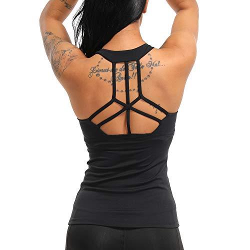 COLO Women Yoga Tank Top Workout Tops Open Back Racerback Built in Bra Removable Pad -Cross Black(S)