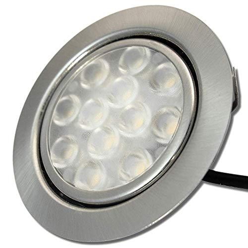1 x 3W LED Möbeleinbauleuchte 12V super flach 55mm Einbaustrahler Leonie 200lm inkl. Kabel mit Mini Stecker 3200K Warmweiß