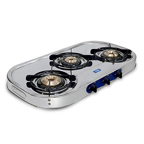 Glen Stainless Steel Open LPG Gas Stove with 3 Brass Burner (1033 SS HF DT AL, Silver)