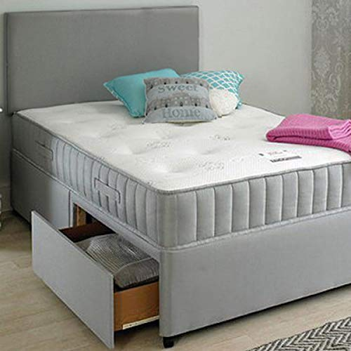 Frankfurt & Co - Olivia Divan Fabric Bed with Orthopaedic Spring Memory Foam Mattress & Included Free! Headboard and 2 Side Drawers (3FT-Single)