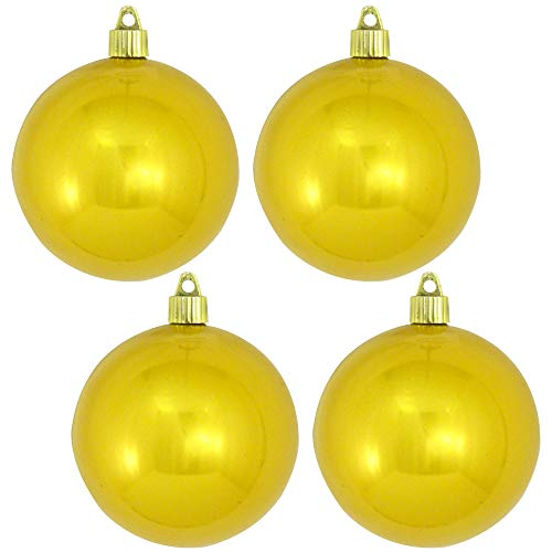 [4 Pack] Christmas by Krebs Shiny Sunshine Yellow 4' (100mm) Commercial Grade Indoor Outdoor Shatterproof Plastic Ball Ornament
