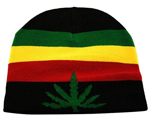 Itzu Bonnet rasta en tricot avec motif feuille de ganja en noir, rouge, jaune, vert - Noir - Taille Unique