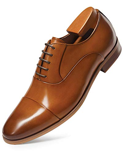 FRASOICUS Mens Dress Shoes Oxford Formal Lace Up Wingtip Leather Shoes for Men 10.5 Brown