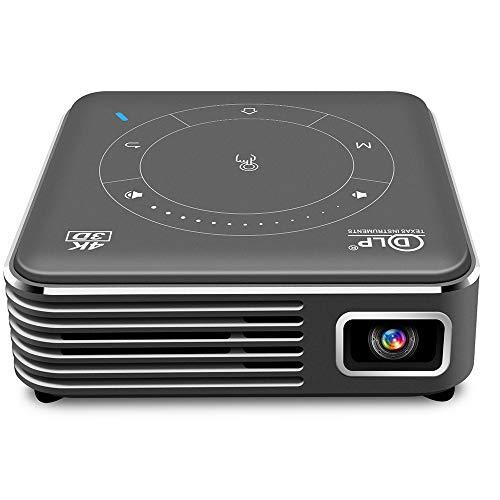 LLC-POWER Inalámbrico Portátil Mini Proyector, 3D DLP WiFi Inicio Proyectores De Cine, La Ayuda HD 1080P Incorporado En La Batería, Corrección Trapezoidal Automática, USB HDMI Audio De 3.5Mm