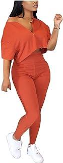 MorwenVeo Womens Sexy 2 Piece Sports Outfit Tracksuit Set T Shirt Bodycon Pants Joggers Clubwear Sportswear Set
