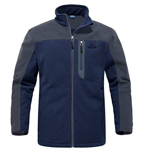YSENTO Herren Outdoor Fleecejacke Full Zip Winddicht Leicht Atmungsaktiv Warme Polar Angeln Arbeit Wander Jacke mit Reißverschlusstaschen(Marine,XL)