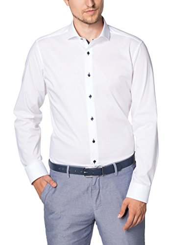 ETERNA Langarm Hemd SLIM FIT Stretch unifarben- Gr. 40, Weiß