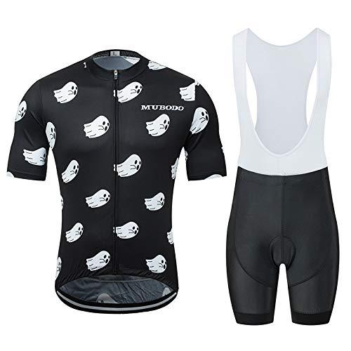 SDJZXHN Herren Radtrikot Set,Persönlichkeit Ghost Drucken MTB Rennrad Fahrradbekleidung,Sommer Kurzarm Bike Shirt + 3D Gepolsterte Bib Bike Shorts Für Outdoor,Sportswear,XXL
