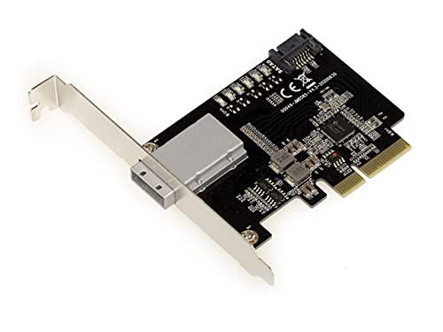 Kalea Informatique - Tarjeta controladora PCIe 2.0 (4 puertos SAS externos, SFF8088 + 1 puerto SATA interno, 6 GB – Chipset JMB585