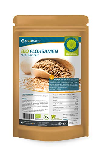 Flohsamen Bio 99% Reinheit 1500g - Großpackung - aus kontrolliert biologischem Anbau - 1,5kg indische Flohsamen - Zippbeutel - Top Qualität