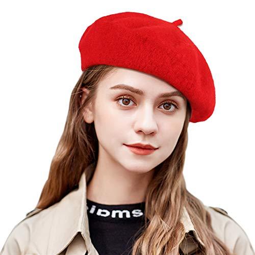 Tacobear Damen Baskenmütze Französisch Barett Wollmütze Wintermütze Barett Kappe Hut Herbst Winte Wolle Barett für Frauen (Rot)