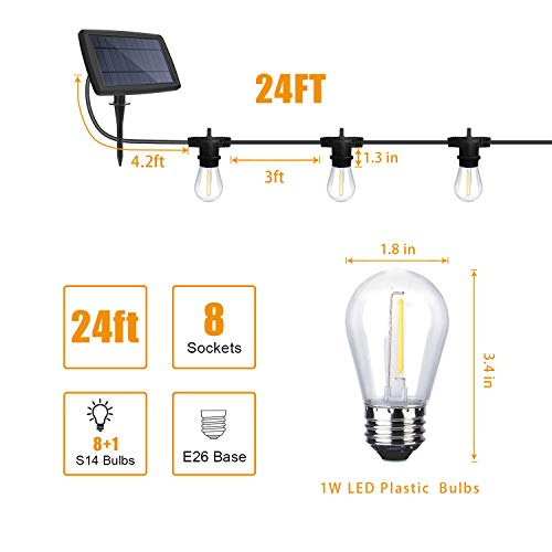 YVETTE LED Solar Outdoor String Lights Waterproof, 24FT LED Patio Lights, 8×E26 Hanging Sockets and 9×1W Vintage Edison Bulbs(A Spare), 2700K Warm White for Wedding Porch Party