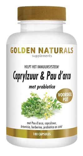 Golden Naturals Caprylzuur & Pau darco met probiotica (180 vegetarische capsules)