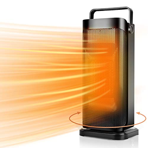 Electric Space Heater - 1500W Portable Ceramic Heater for Indoor Use,Floor Heater for Home,Oscillating Tower Heater with Thermostat, Safe,Fast Heating, Tip-over & Overheat Protection, Quiet, Ideal for Personal, Office, Bedroom, Bathroom, Home