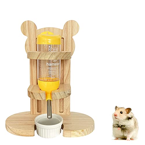 Furado Hamster Trinkflasche mit Ständer, 80 ML Hamster Trinkflasche Einstellbar Holz Hamster Wasserspender Ständer mit Futternapf Meerschweinchen Nippeltränke für Hamster Kaninchen Kleintiere