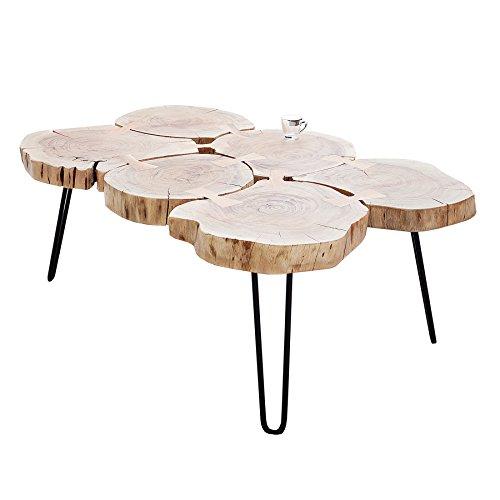 Invicta Interior Massiver Couchtisch GOA 115 cm Baumstamm Scheiben Akazie Tischplatte Holztisch Metall Wohnzimmertisch Holztisch Massivholz