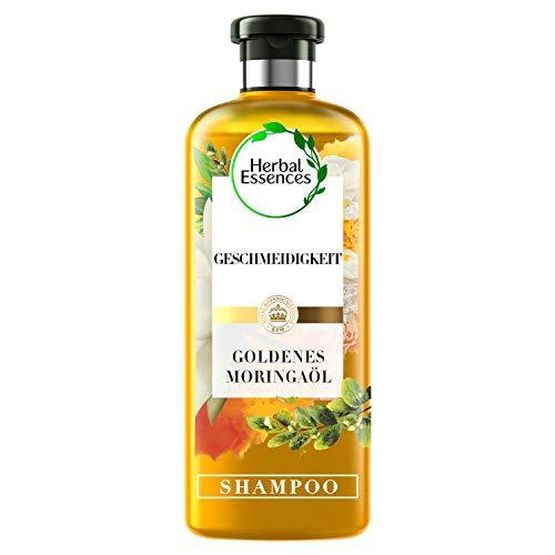 Herbal Essences PURE:renew Goldenes Moringaöl, Geschmeidigkeit Shampoo, 250 ml, Aloe Vera, Aloe Vera Haare, Shampoo Damen, Haarpflege Glanz