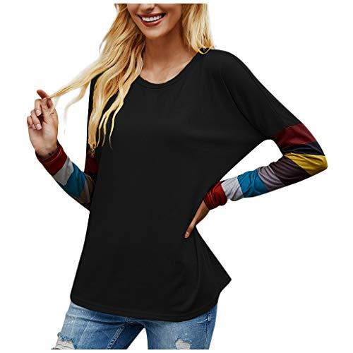 Mode Damen Beiläufig Lose Rundhalsstreifen Genäht Langarm T-Shirt Top