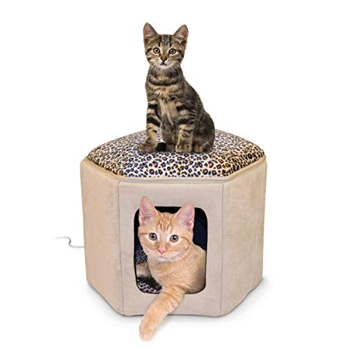 K&H Pet Products Thermo-Kitty Sleephouse Heated Pet Bed Tan/Leopard 12