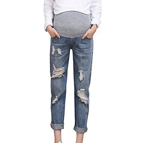 BOLAWOO-77 Damen Jeans Umstandshose Schwangerschaftsjeans Mutterschaft Pflege Bauch Legging Hose Mode Loch Latzhose Jeans Festlich Für...