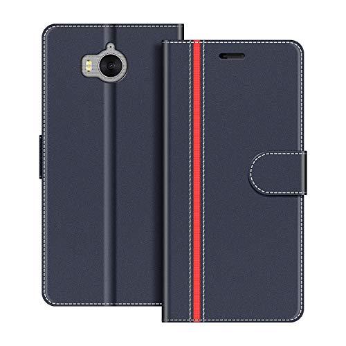 COODIO Handyhülle für Huawei Y6 2017 Handy Hülle, Huawei Y6 2017 Hülle Leder Handytasche für Huawei Y6 2017 Klapphülle Tasche, Dunkel Blau/Rot