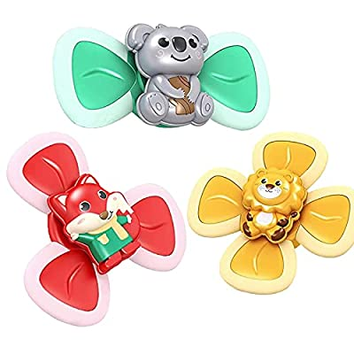 MGLDSJT Suction Cup Spinner Toy, 3PCS Baby Spinning top Toys,Bath Toys for Kids Girls Boys Cartoon Animal Turntable Creative Educational Toy