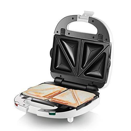 Gofrera sandwichera Sandwich Tostadora, Prensa for Panini Grill, Anti-Stick Recubrimiento, antideslizante, cubierta plástica, antiadherente Placas de revestimiento de aluminio Grill, 700W