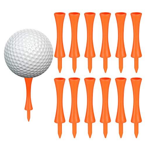 100 Pcs 75mm Tee Golf Plastique Orange, Durables Tees de Golf Château, pour Driver Golf, Tapis Golf et Balles de Golf Plastique