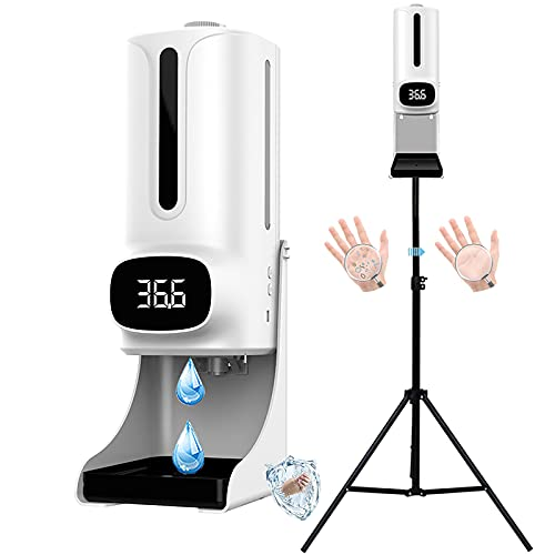 ilbcavne Dispensador de Jabón Automático con Soporte Dispensador de Spray Desinfectante Touchless 1200ML con Soporte de Acero Inoxidable,para Oficinas, Escuelas Públicas