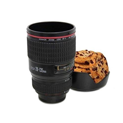 Rivenbert Kit Taza de Acero Inoxidable de Lente de Camera con Soporte de Galleta 24-105mm para té Agua Taza de café Taza de Acero by