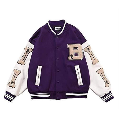 N\C Chaqueta de béisbol Unisex Unisex College Chaqueta Vintage Chaqueta Sudadera Vintage Streetwear Extremo Patchwork Sport Chaqueta, Collar de pie (Color : Purple, Size : L)