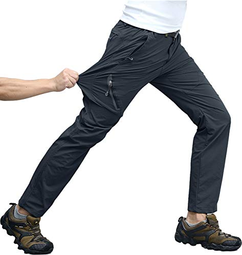 KEFITEVD Wanderhose Herren Schnelltrocknend Stretch Trekkinghose Frühling Sommer Leicht Kletterhose Radfahren Wandern Outdoor Hose Männer Dunkelgrau 32