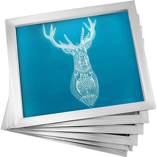 VEVOR Marco de Impresión de Pantalla de Aluminio de Serigrafía 6 Piezas, 50.8x60.9 cm, Marco para Seda Impresión con 110 Cuenta de Mallas Blancas