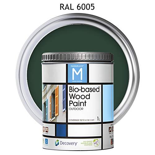 Pintura para Madera   Bio-based Wood Paint RAL 6005   1 L   para todo tipo de madera   Pintura madera exterior con un aspecto de acabado semi mate cálido y sedoso   Color Verde