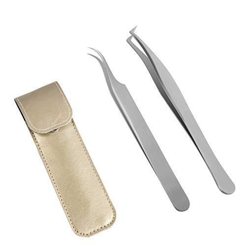 Lunamoon Wimpern Pinzette für Wimpernverlängerung - 2 Stück Gerade und gebogene spitzen Pinzette Professionelle Wimpern Pinzette Set (tweezers set03)