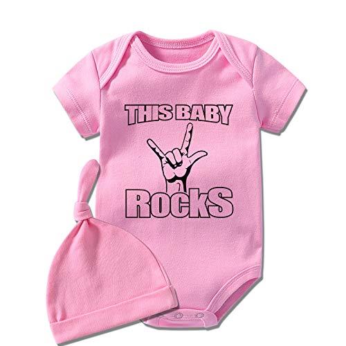 culbutomind Questo Bambino Rocks Infan Baby Twins Abbigliamento Body Neonato Ragazzi Manica Corta Primo Natale Bambino Vestiti Rosa Questo Baby Rock 1 mese