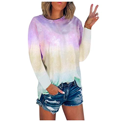 Meikosks S - 5XL T Shirt Womens Tie-Dye Printed Long Sleeve Tee Tops Plus Size Crew-Neck Blouses Pink